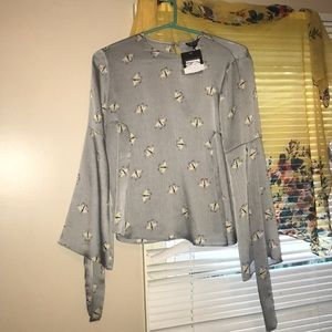 Blue/Grey Butterfly Print Top